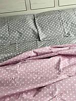 Постельное белье cемейное серое с нежно розовым в горошек