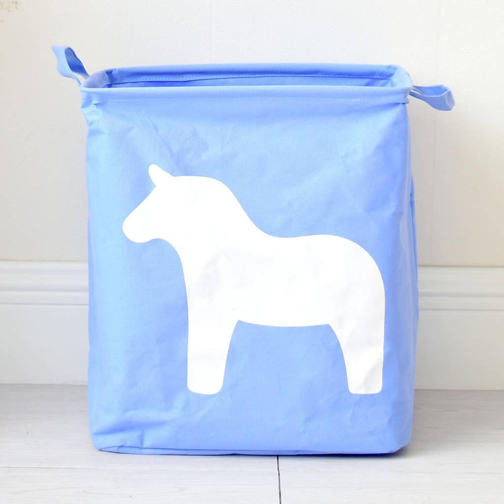 Корзина для игрушек Лошадь, голубой