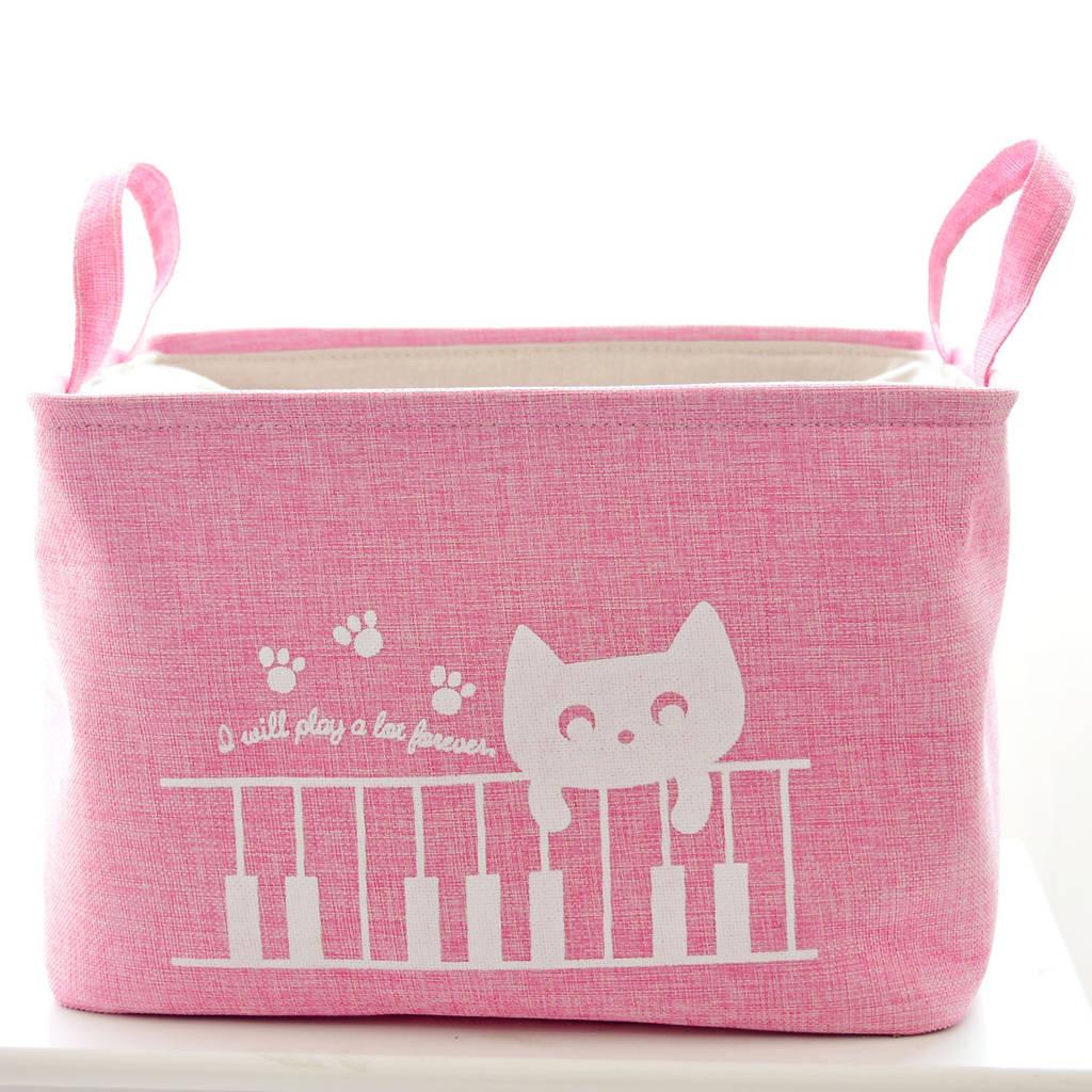 Корзина для игрушек на завязках Кот Пианист, розовый