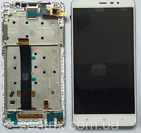 Дисплей (экран) для Xiaomi Redmi Note 3 PRO тачскрин, с передней панелью, цвет белый