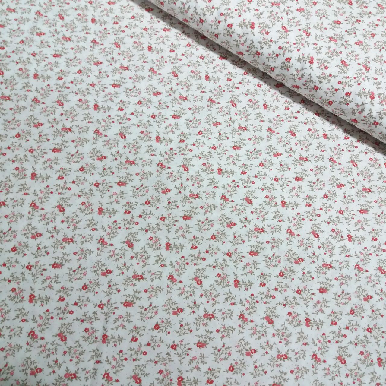 Ткань с мелким красным цветочком на белом фоне, ширина 160 см, фото 1