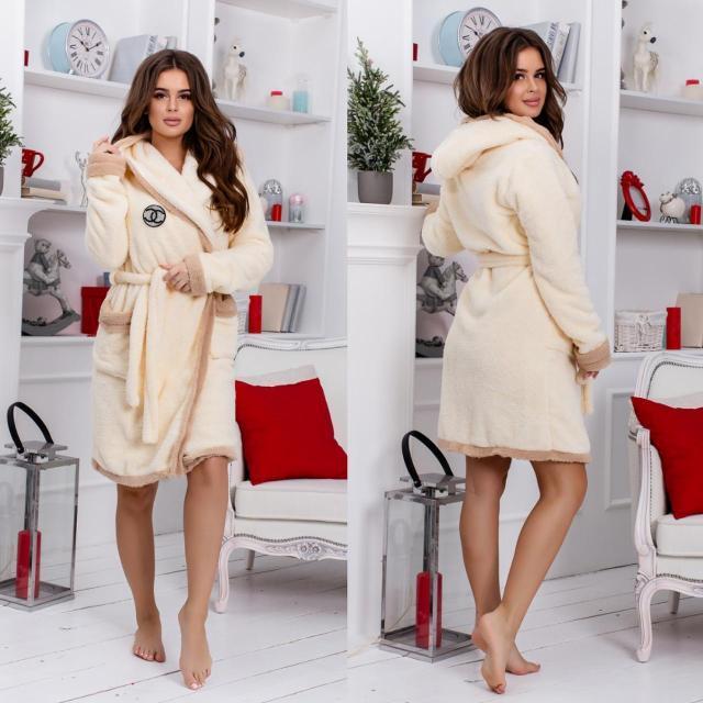 Махровый халат с капюшоном + тапочками (р.42-48) кремовый