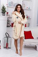 Махровый халат с капюшоном + тапочками (р.42-48) кремовый, фото 2