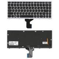Клавиатура для ноутбука Lenovo IdeaPad (Z400) с подсветкой (Light), Black, (Gray Frame), RU IdeaPad Z400