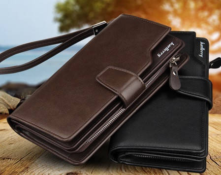 Стильный мужской кожаный клатч, кошелек Baellerry Business, фото 2