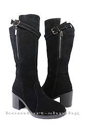 Женские сапоги  замшевые , черные V 1219