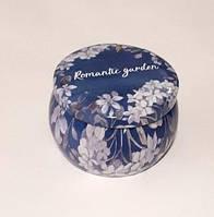 Коробка подарочная жестяная 7*7*5см Романтический сад синяя