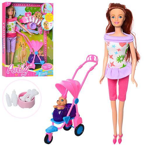 Кукла 99057  29см, коляска, животное 5см, аксессуары, 2вида, в кор-ке, 21-32,5-6см