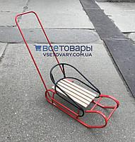 Санки Польские модель 2, с ручкой толкателем, красные, фото 1