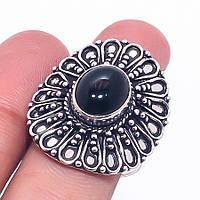 Черный оникс кольцо с черным ониксом в серебре. Индия, фото 1