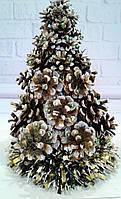 Новогодняя декоративная елка с декором из шишек Ручная работа