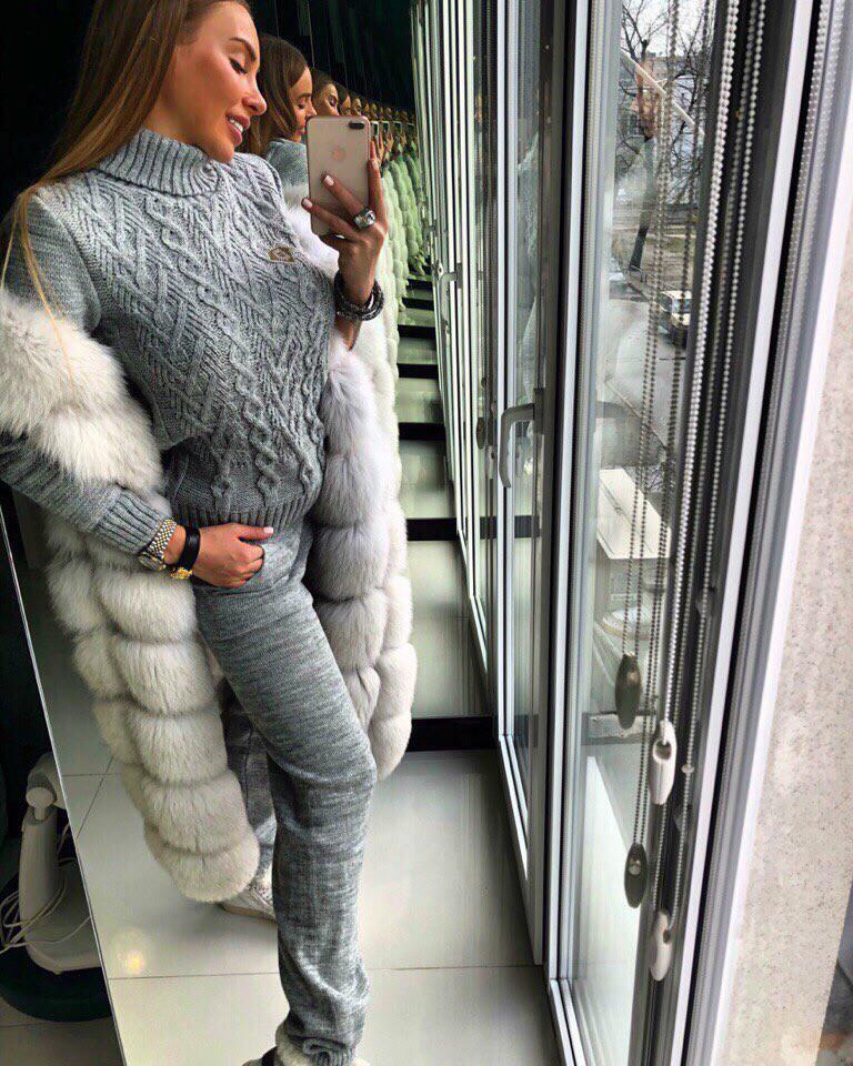 костюм женский шерстяной вязаный на зиму цена 940 грн купить в
