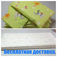 Матрас детский+постельное бельё+одеяло+подушка.
