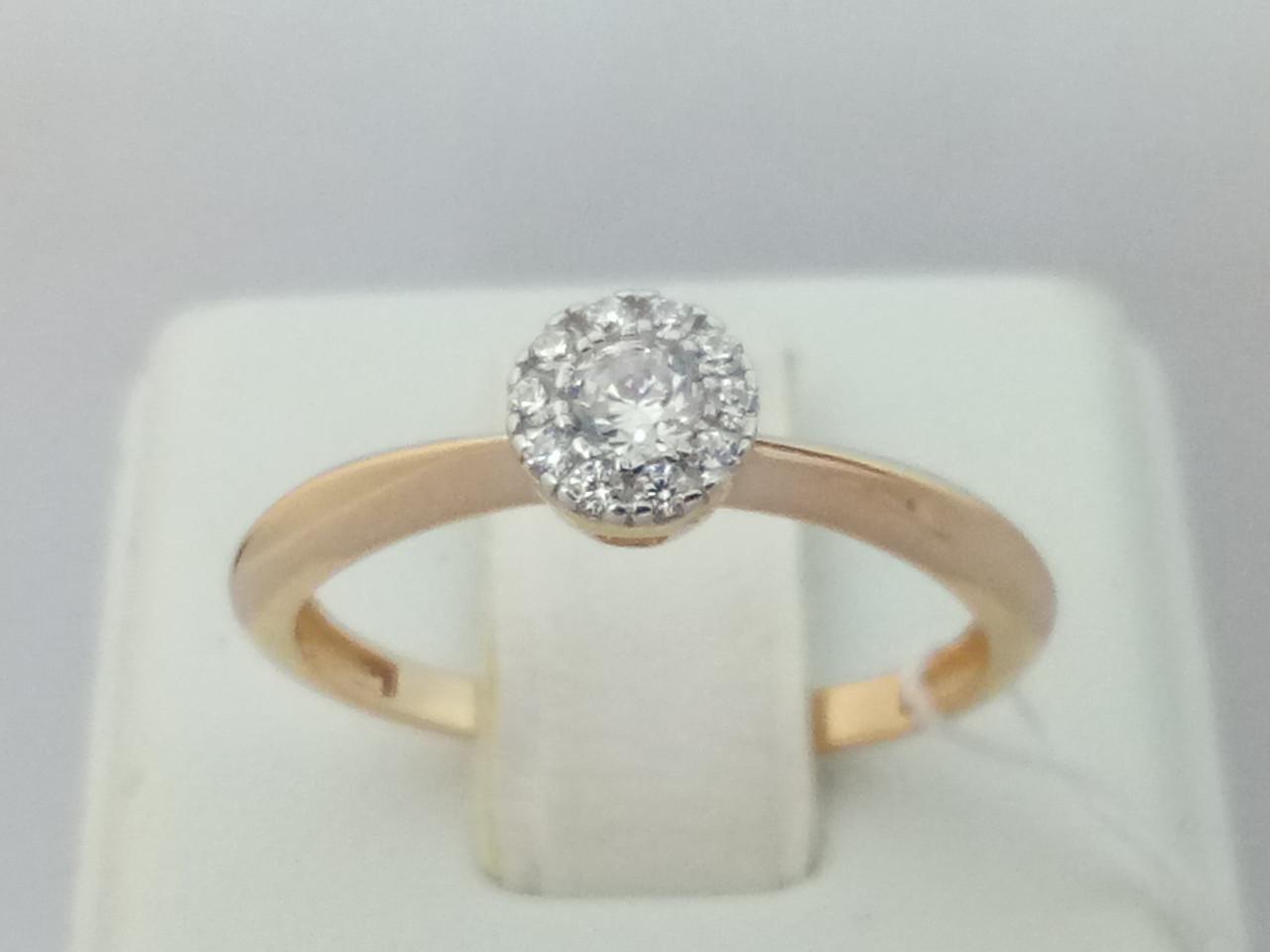 Золотое кольцо с фианитами. Артикул 140653 18