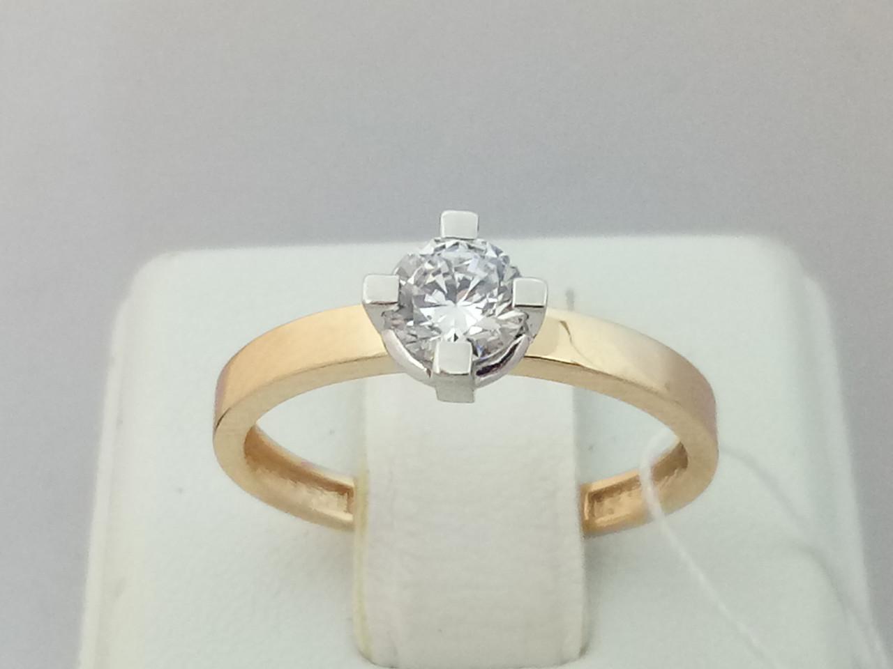 Золотое кольцо с фианитом. Артикул 146600