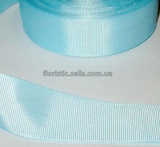 Лента репсовая 4 см, голубая