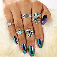 5шт Богемианское кольцо для коктейлей Винтаж Shell Hollow Flower Palm Лист Бирюзовый Кольца для Женское