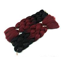 Канекалоновая коса омбре, черный + красное дерево