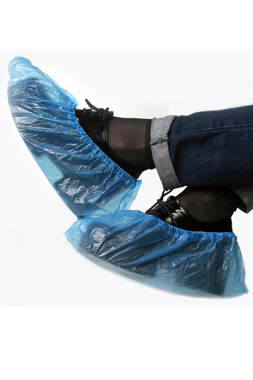 Бахилы одноразовые полиэтилен (4 гр пара) 400 пар в упаковке (голубые)