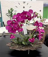 Декор для мебели,Орхидея фуксия на коре ручная работа