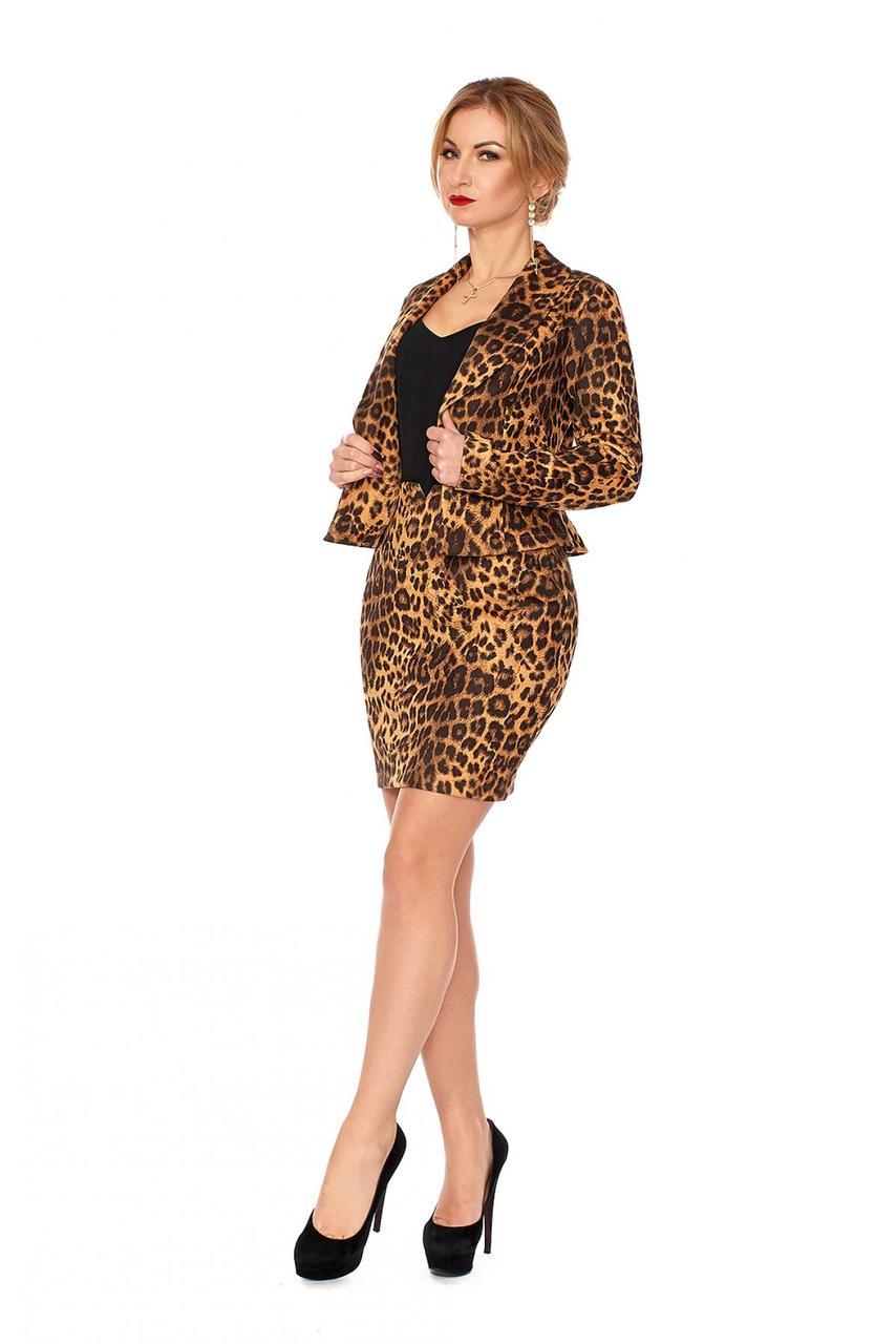Трендовый женский костюм с тигровым принтом