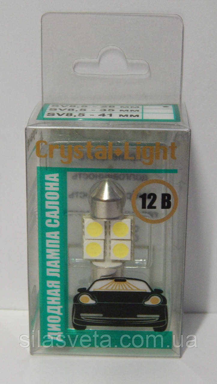 "Светодиодная лампа салона 28мм 12V 4SMD ""Cristal Light"""