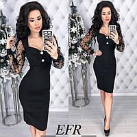 Нарядное платье / стрейч-джинс, сетка / Украина 50-307