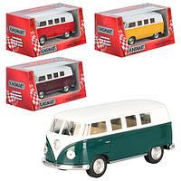 Автобус KT 5060 W (24шт) металл,инер-я,1:32,13см,откр.багаж рез.колеса,4цвета,в кор-ке, 16-7-8см