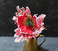 Цветок пуансетии -шотландки с декором, фото 1