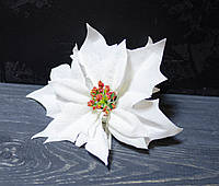 Цветок пуансетии велюр белая 19 см