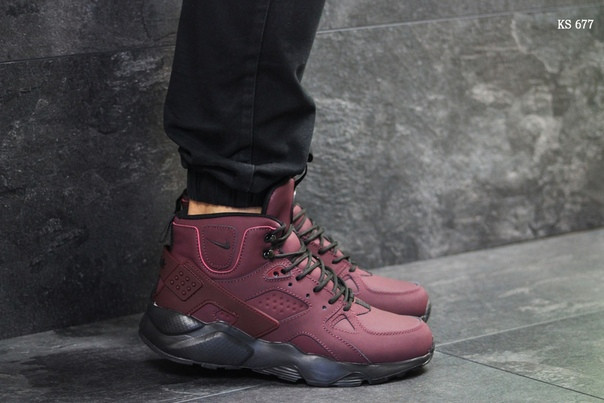 Зимние ботинки Nike Huarache (бордовые) ЗИМА