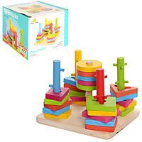 Деревянная игрушка Пирамидка-ключ MD 0061 (48шт) 14,5-14,5-10,5см, в кор-ке, 15,5-16-12см