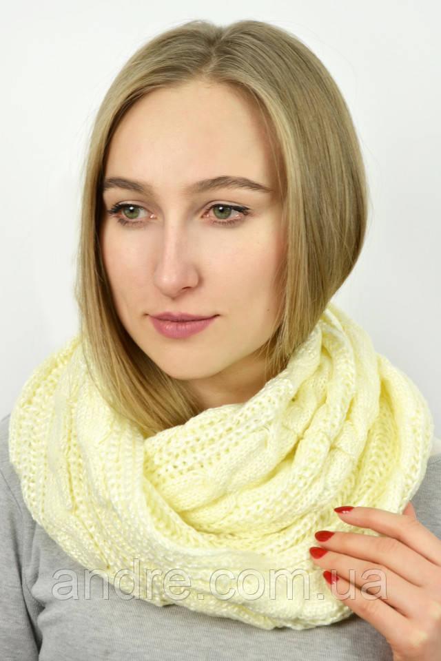 Большие шарфы снуды Бонжур, кремовый