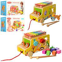 Деревянная игрушка Машинка Сортер Ксилофон Каталка, MD 1173, 009998