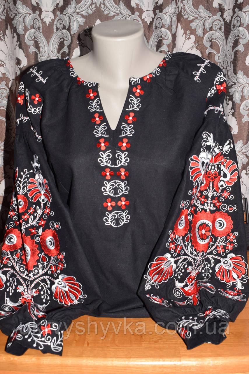 """Блузка в стилі бохо """"Намисто"""" чорна"""