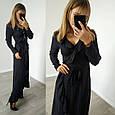Платье с рюшами на запах черное в горох, фото 2