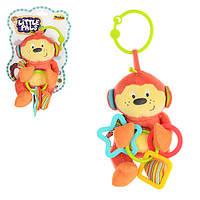 Подвеска на коляску 0119-NI 28см,обезьянка(погремушка,шуршалка),плюш,на листе,16-22,5-10см
