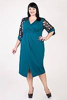 Красивое модное женское платье с цветочными рукавами бутылочное размеры 56,58