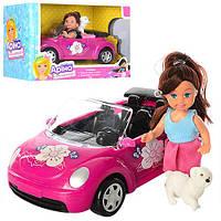 Кукла K899-14 (48шт) 12см, машинка 21,5см, собачка, в кор-ке, 24,5-16-12см