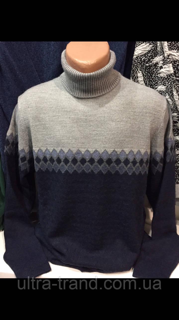 Тёплые турецкие полушерстяные мужские свитера с отворотом гольфы