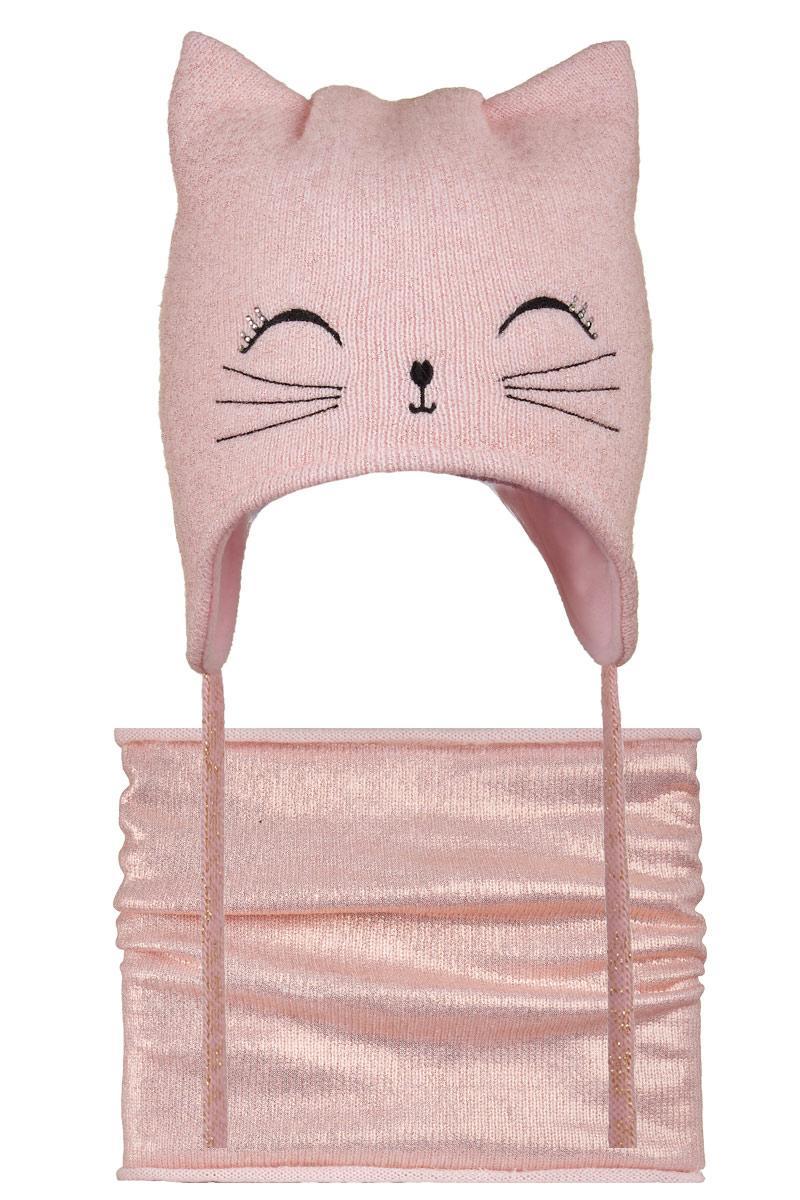 Зимний комплект для девочки шапка флис и шарф-туннель, Nikola