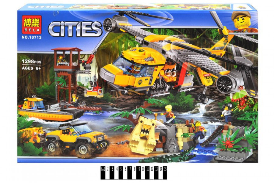 """Конструктор Бела Сити 10713 """"Вертолёт для доставки грузов в джунгли"""", 1298 дет."""