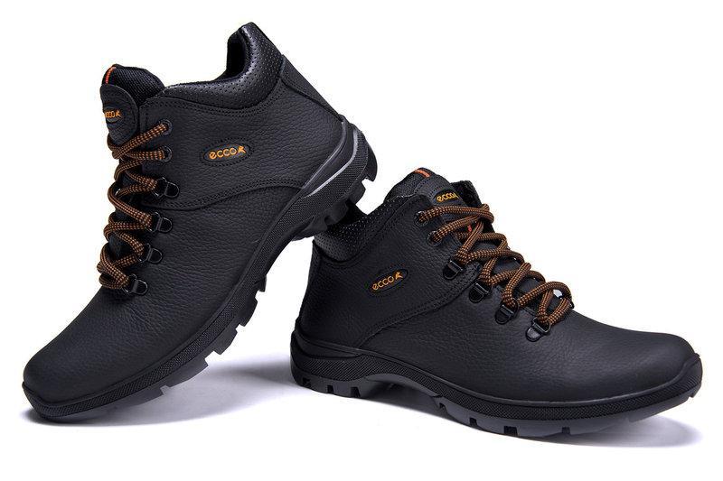 02e5f92bd Зимние мужские ботинки черные из натуральной кожи на меху в стиле Ecco  Infinity 40 41 42