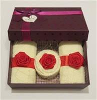 """Полотенце-пирожное """"Подарочный набор с розами"""", фото 2"""