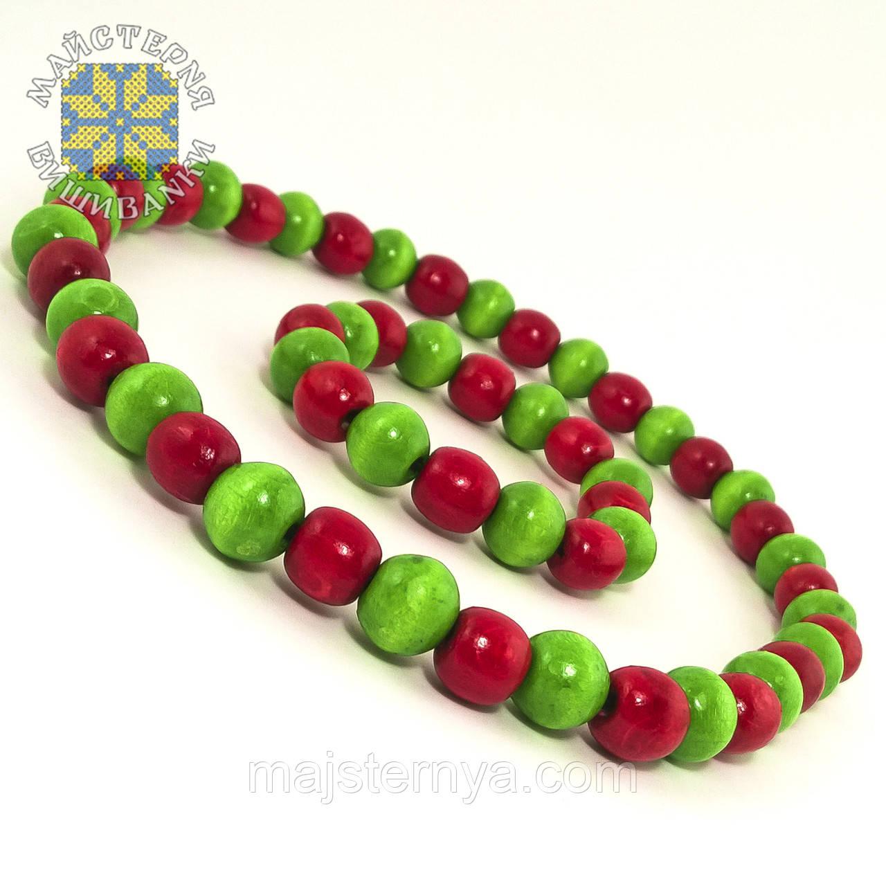 Буси з браслетом із дерев'яних бусин, два кольори Салатовий; Червоний