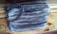 Сумка из натурального меха норки серая, размер 23х15 см, фото 1