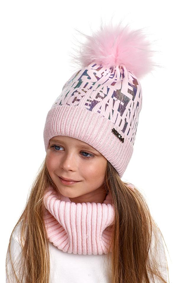 Комплект для девочки шапка и снуд с натуральным помпоном, Nikola