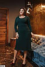 Платье женское демисезонное теплое темно-зеленое размеры: 50-62, фото 2