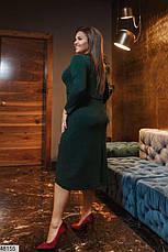 Платье женское демисезонное теплое темно-зеленое размеры: 50-62, фото 3