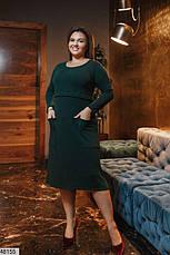 Плаття жіноче демісезонне тепле темно-зелене розміри: 50-62, фото 2